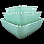 SOLD Square Beaded Jadeite Nesting Bowls