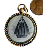 Antique Catholic Jewellery Pendent Print Jesus Mary Glass Brass Frame.