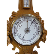 Aneroid Barometer - Thermometer weather instrument decorative interior painted carved hardwood