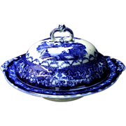 Watteau Flow Blue Circular Tureen New Wharf Pottery & Co. Burslem Staffordshire Ironstone ...