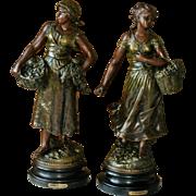Antique Bronze Spelter Figures France Realism