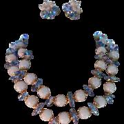 SALE Signed Vendome ~ Soft Blue Crystal ~ Double Strand Demi parure