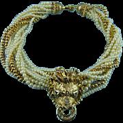 SALE Vintage Golden Lion Head Crystal & Faux Pearl Statement Necklace