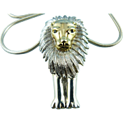Silver Plated Mid Century Modern Lion Pendant & Thick Snake Chain Statement Convertible ..
