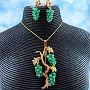Vintage Marvella Jade Glass Grapevine Brooch/Pendant & Earring Set