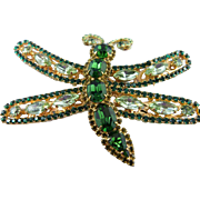 SALE Signed Thorin Stunning Huge Peridot & Emerald Green Crystal Dragonfly Brooch
