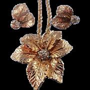 SALE Signed Judy Lee Golden Rhinestone Leaf Brooch/Pin Pendant Necklace Set
