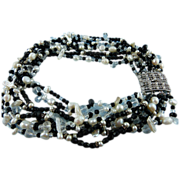 Signed Ciner Multi Strand Fresh Water Pearl Faceted Crystal  Statement Couture Collar Necklace