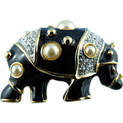 SALE Designer Signed KJL Black Enamel & Gold Tone Faux Pearl Pave Rhinestone Rhino Pin ...