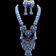SALE Signed Stanley Hagler Carolina Blue Moonstone & Marquis Rhinestone Necklace Set