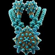 SALE Signed Stanley Hagler Turquoise Gemstone Floral Statement Necklace Set