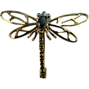 SALE Signed 9KT Yellow Gold Sapphire & Diamond Dragonfly Pin From Ireland : Appraisal Included