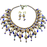 Signed Butterfly Blue Design Cobalt Blue & Amber Cloisonne Bead Bib Front Statement Necklace S
