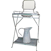 French Metal Washstand With Pitcher/Bowl and Mirror Miniature