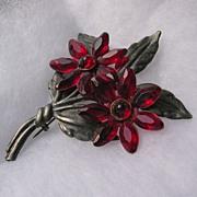 Large Vintage Red Lucite Flower Brooch