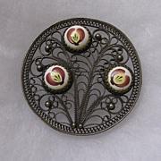 Russian Finift Sterling Silver Hand Painted Porcelain Enamel Brooch