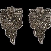 Art Deco Sterling Silver Marcasite Dress Clip Duo