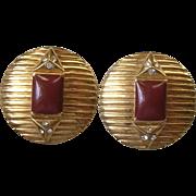Vintage Deco Style Designer Enamel Rhinestone Clip Earrings Signed Lanvin