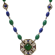 Czech Art Deco Imitation Jade & Lapis Glass Bead Pendant Necklace