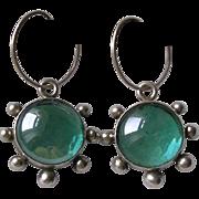 Sterling Silver Poured Glass Pendant Earrings