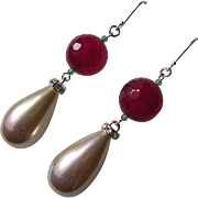 Tudor Inspired Imitation Ruby & Pearl Pendant Earrings
