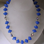Gorgeous Original Art Deco Lapis Glass and Crystal Bead Necklace