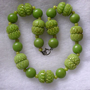 Art Deco Chunky Lime Green Carved Galalith Bead Necklace
