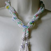 Fabulous Vintage Glass and Faux Pearl Bead Lariat Necklace