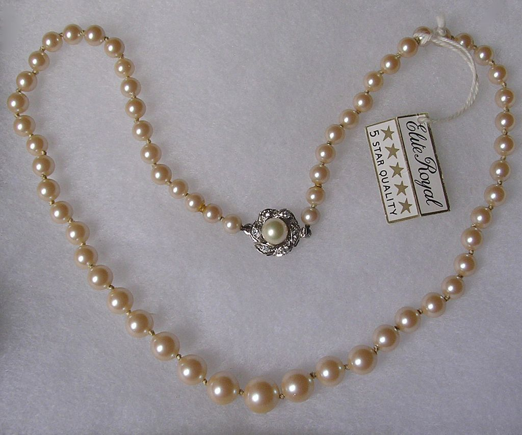 Pearl Necklace Clasp: Vintage Graduated Imitation Pearl Necklace With Sterling