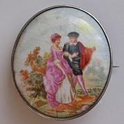 Lovely Victorian 927 Silver Fragonard Style Porcelain Brooch