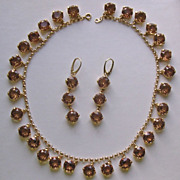 Stunning Unsigned Citrine Rhinestone Demi-Parure Necklace & Earrings