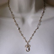 SALE Chinese Gilded Sterling Silver & Freshwater Pearl Pendant Necklace