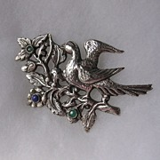 Beautiful Vintage Sterling Partridge In A Pear Tree Brooch