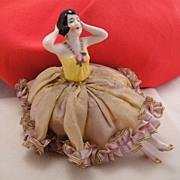 Art Deco Germany Half Doll Flapper Girl & Legs Pincushion