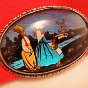 SALE Antique Large Sterling Real Butterfly Wing Brooch with Dutch Holland Scene