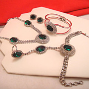 Vintage Necklace Earrings Bracelets Set Parure Emerald Green Glass Clear Rhinestone