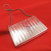 SALE Purse Shaped Antique English Sterling Silver Handbag Finger Purse Chatelaine Etui ...
