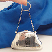 Antique English Sterling Silver Finger Purse Minaudiere