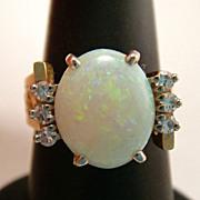 Fabulous Custom Made Vintage Fiery Solid Opal Diamond 14k Gold Ring