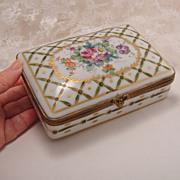 Large Vintage Painted Gilt Porcelain French Hinged Dresser Box for Birks Canada