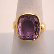 Vintage Estate 14K Yellow Gold Amethyst BIRKS Ring
