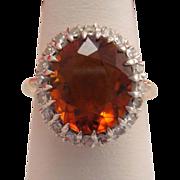 Estate 14k Gold Madeira Citrine Diamond Ring