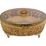 "Big 8"" Art Deco French Deep Beveled Glass Ormolu Jewelry Casket Box Case or Vitrine ..."