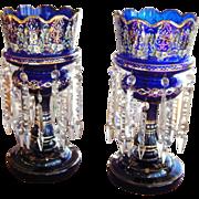 Pair of Bohemian 19th Century Cobalt Blue Enamel Glass Lustres