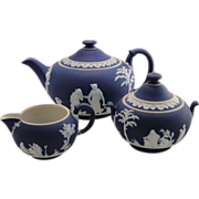 Wedgwood Jasperware Cobalt Blue Tea Set England