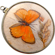 Victorian Butterfly Wing Morpho Pendant Double Glass