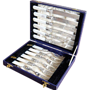 Antique Silver Sterling Fish Set  Fruit Knives & Forks with Mother Of Pearl Handles for ..