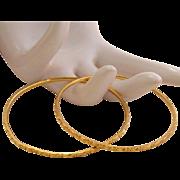 Pair of Solid 22k 22kt Gold Bangle Bracelet 21 Grams
