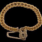 SOLD Antique Victorian Gold Fill Heart Padlock Charm Curb Link Bracelet