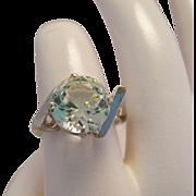 Vintage Prasiolite Green Quartz 10k White Gold Ring
